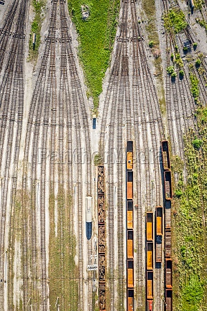 aerial, view, of, cargo, trains, stationed - 30153166