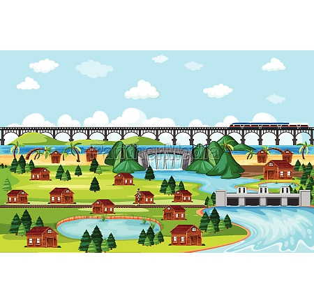 town, or, city, and, bridge, train - 30181678