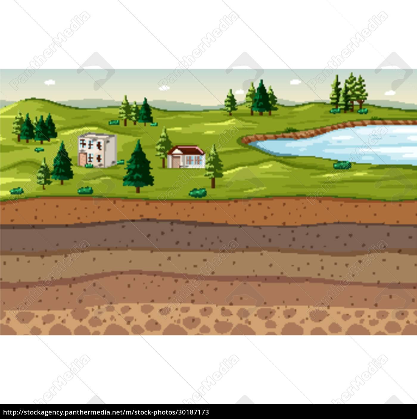naturlandschaft, mit, bodenschichten - 30187173