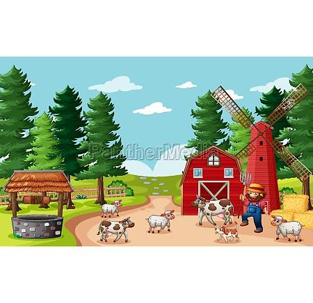 farmer, with, animal, farm, in, farm - 30212258