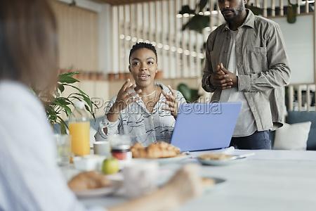 business, people, talking, over, breakfast, in - 30217927