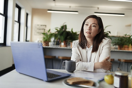 thoughtful, businesswoman, working, at, laptop, in - 30217604