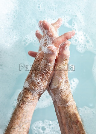close, up, senior, woman, washing, hands - 30218709