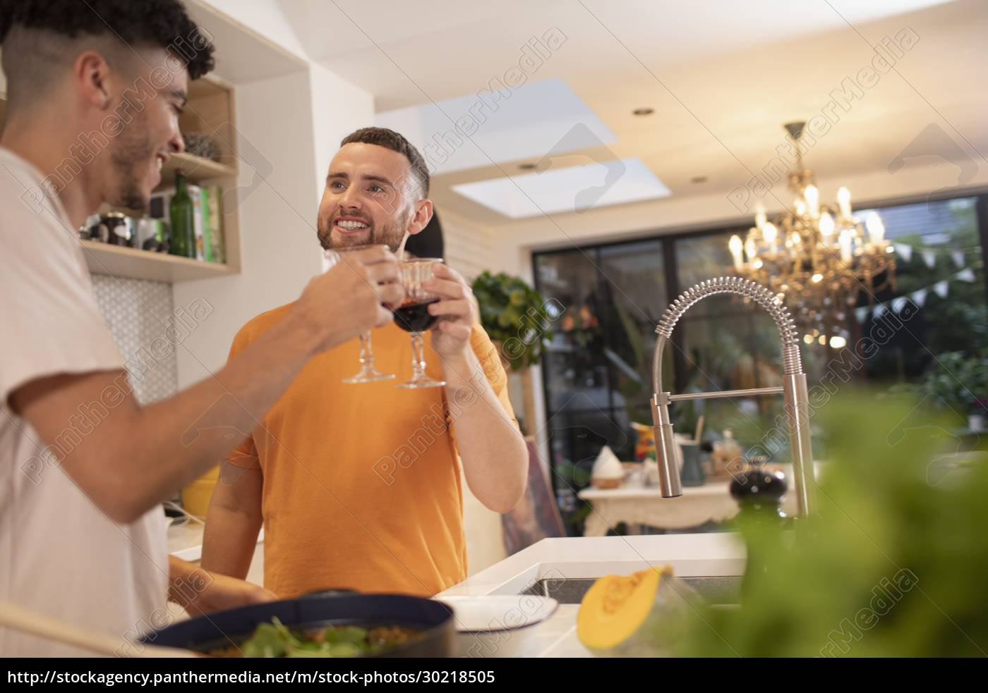 happy, gay, male, couple, drinking, wine - 30218505