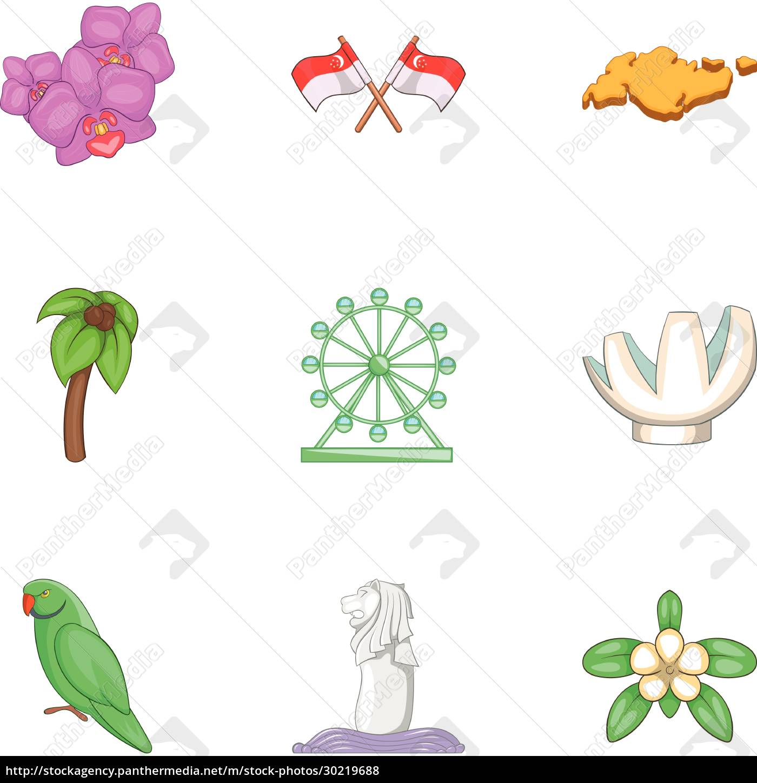singapore, travel, icons, set, , cartoon, style - 30219688