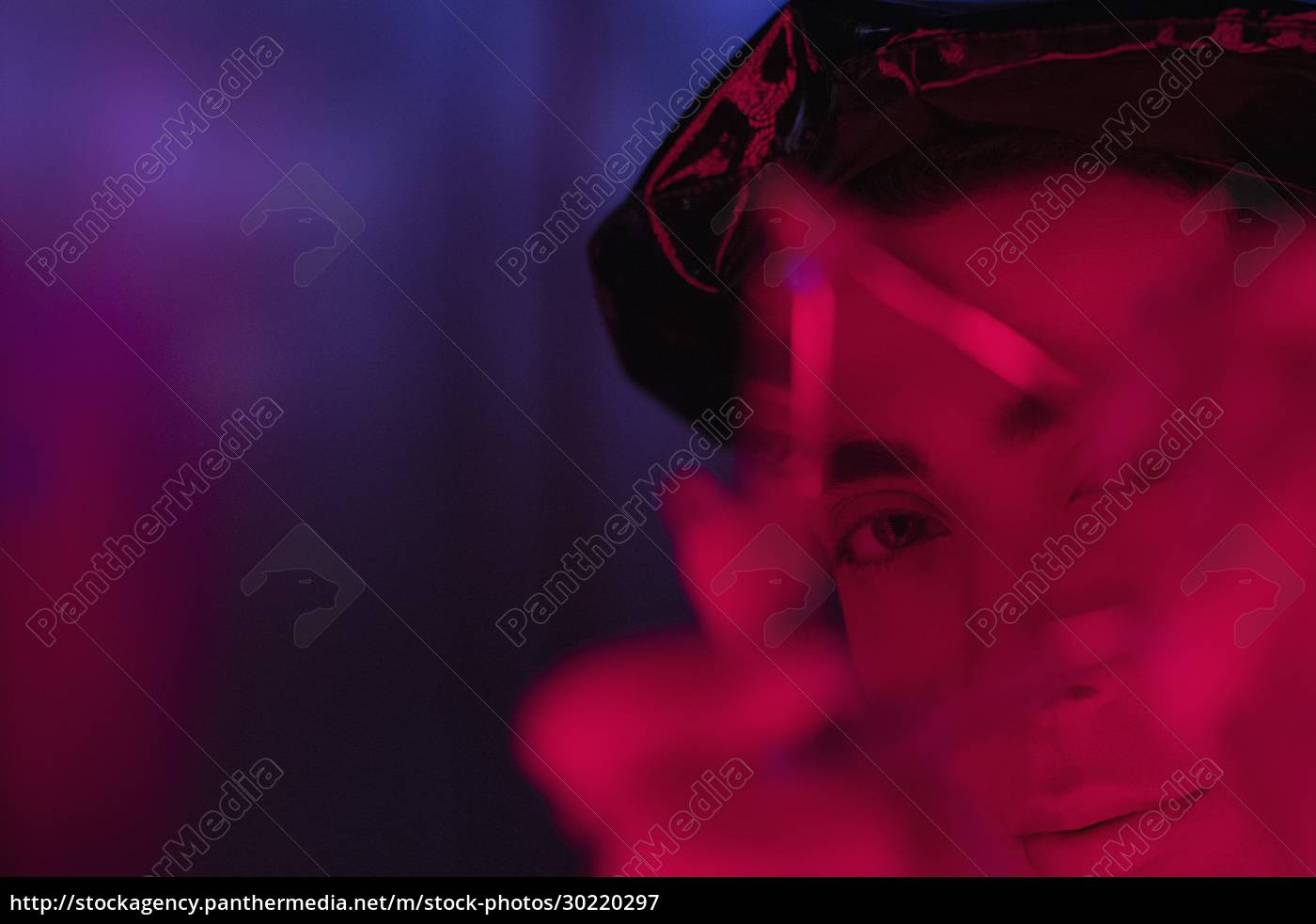 close, up, portrait, young, man, holding - 30220297
