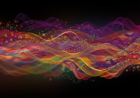 abstraktes, mehrfarbiges, wellenmuster, auf, schwarzem, hintergrund - 30222163