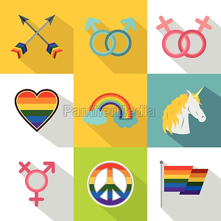 kultur, lgbt, icons, set, flacher, stil - 30224882