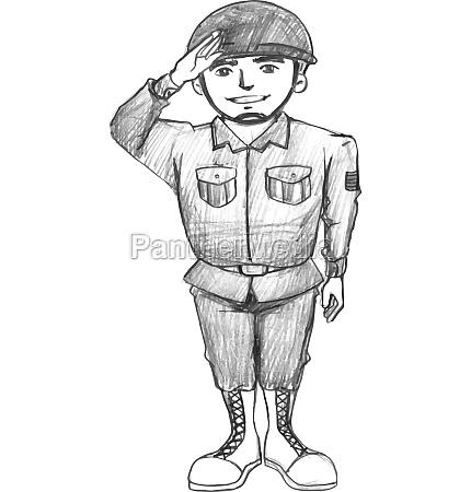 eine, skizze, eines, soldaten - 30231865