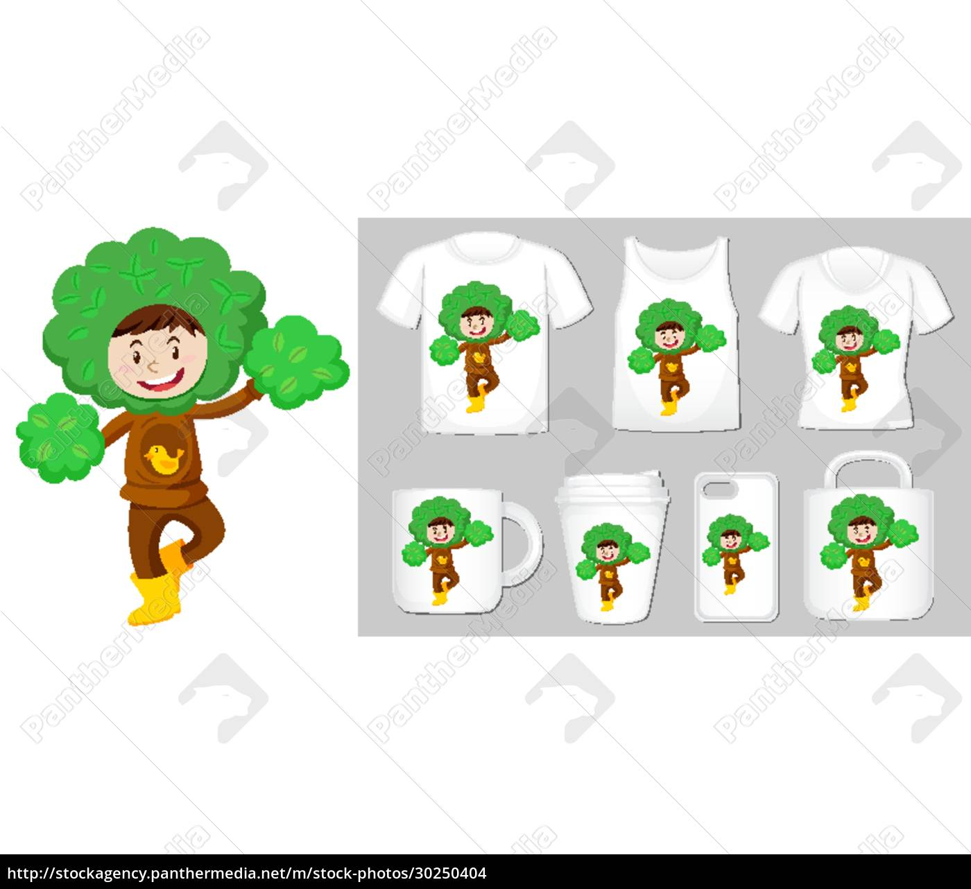 graphic, of, kid, in, tree, costume - 30250404