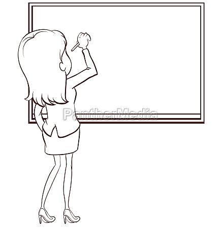 a, simple, sketch, of, a, teacher - 30254570