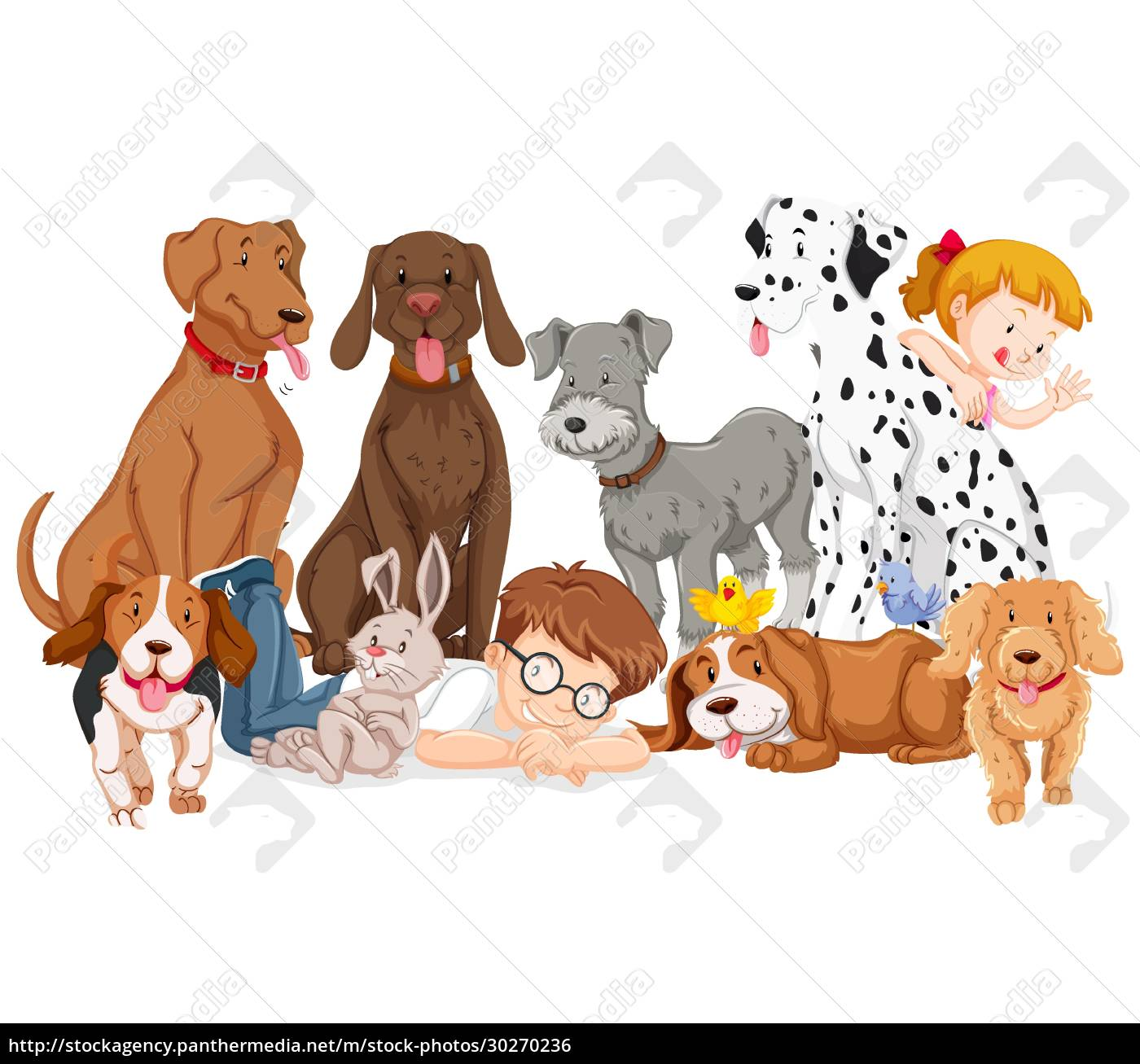 children, with, animals, on, isolated, background - 30270236
