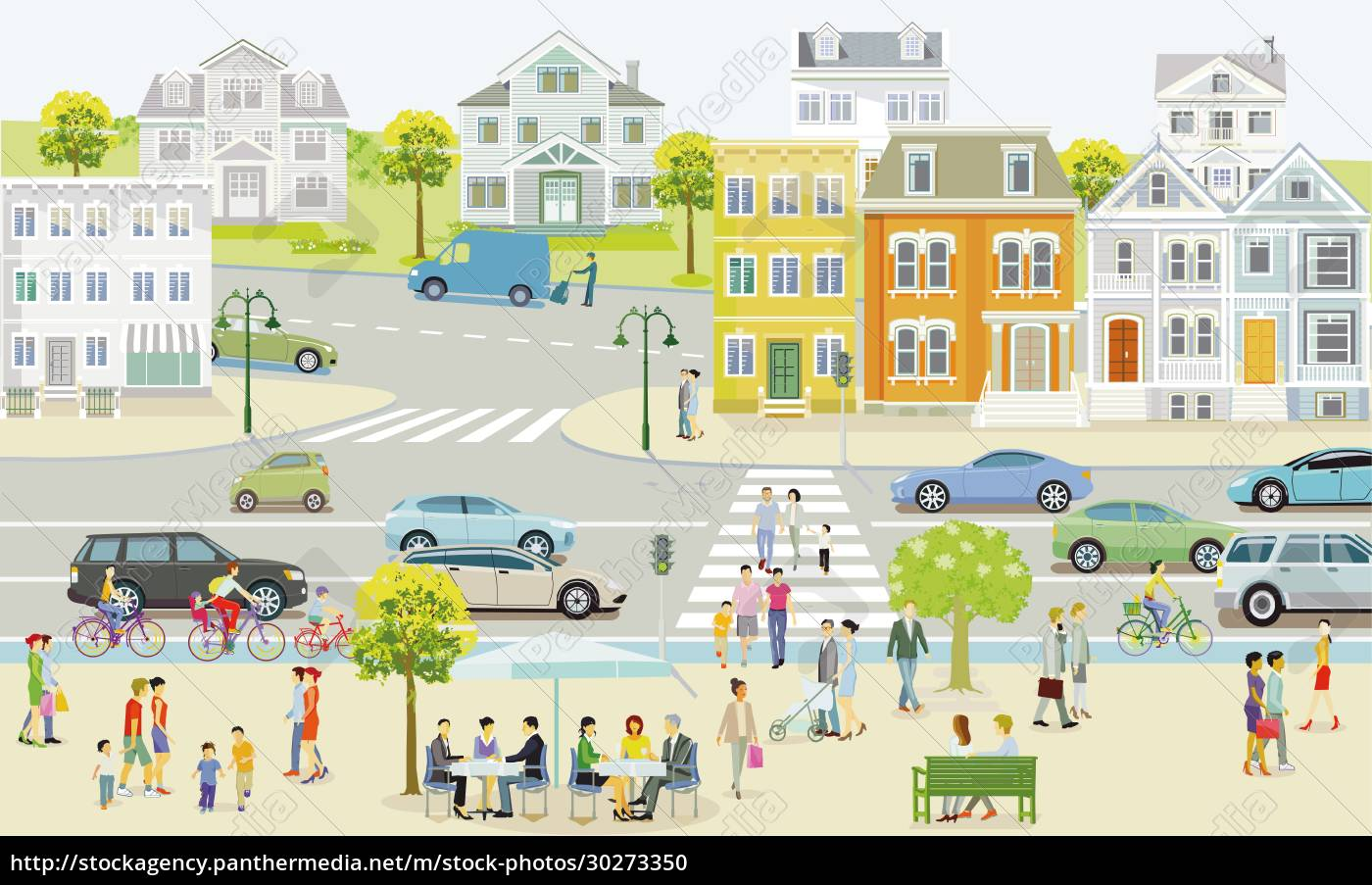 small, town, with, houses, and, traffic, - 30273350