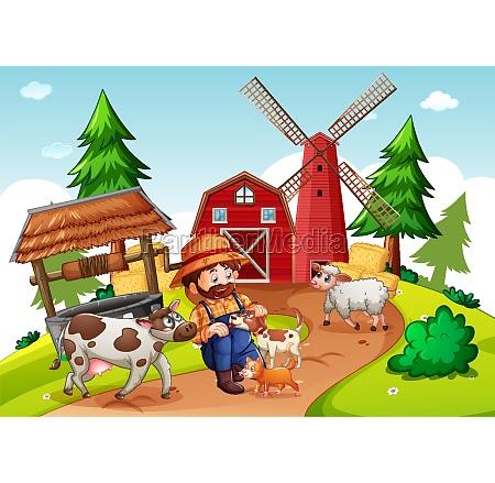 farmer, with, animal, farm, in, farm - 30279076