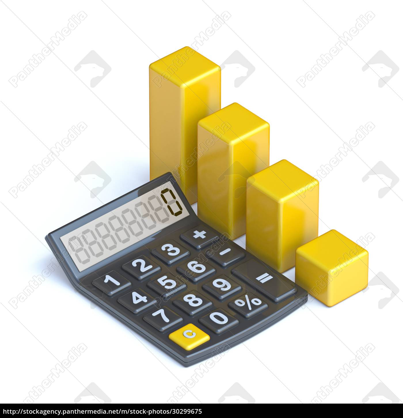 calculator, and, yellow, chart, 3d - 30299675