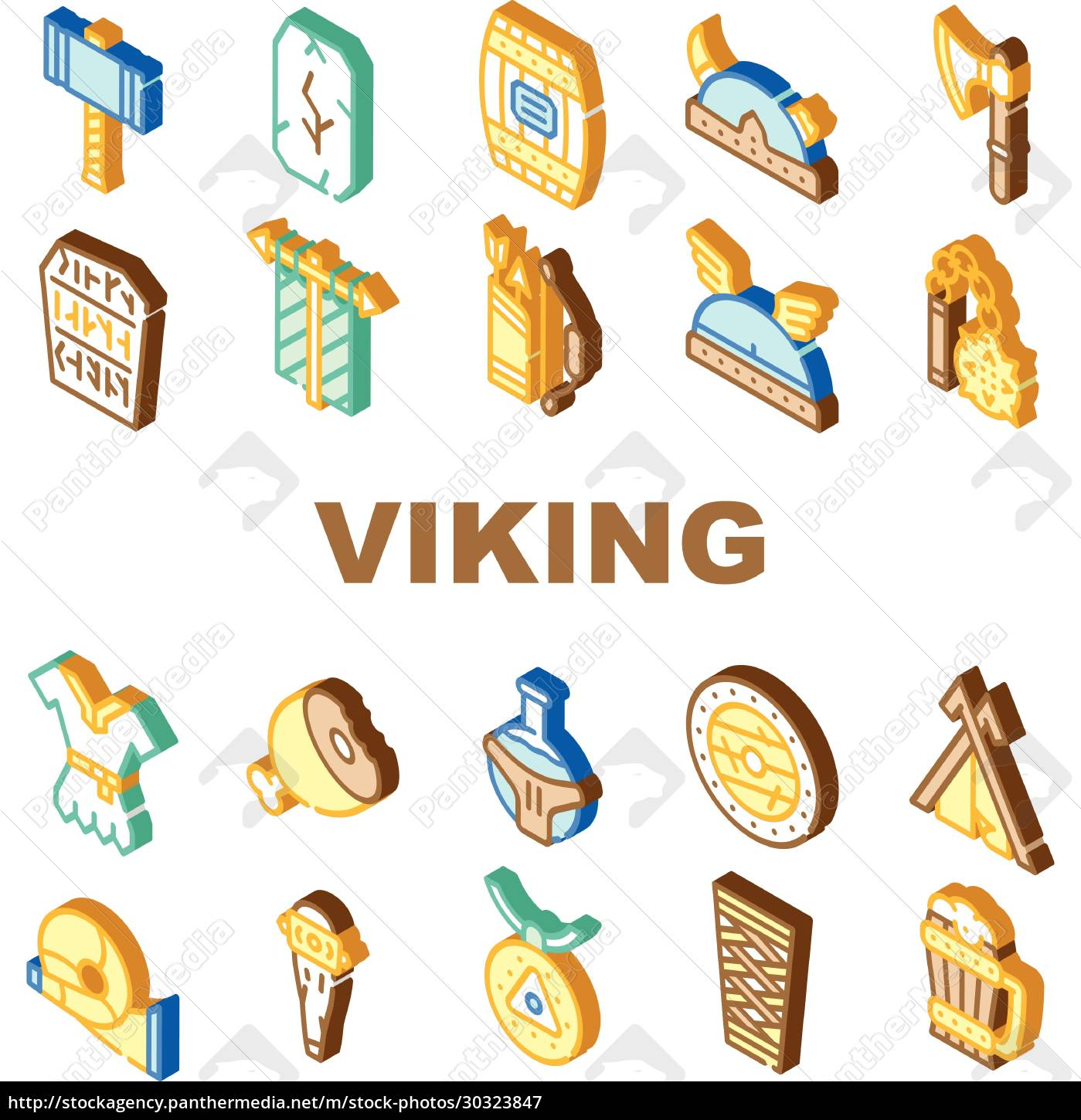 viking, ancient, culture, collection, icons, set - 30323847