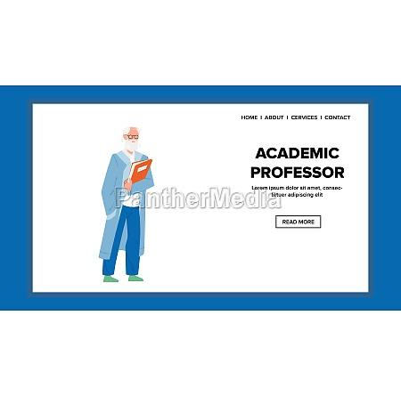 akademischer professor haelt buch fuer vorlesungsvektor