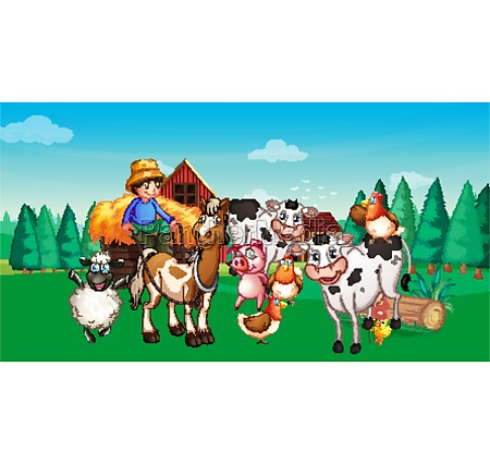 farm, scene, with, animal, farm, cartoon - 30344786
