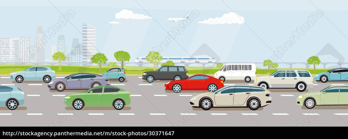 expressway, with, heavy, car, traffic, and - 30371647