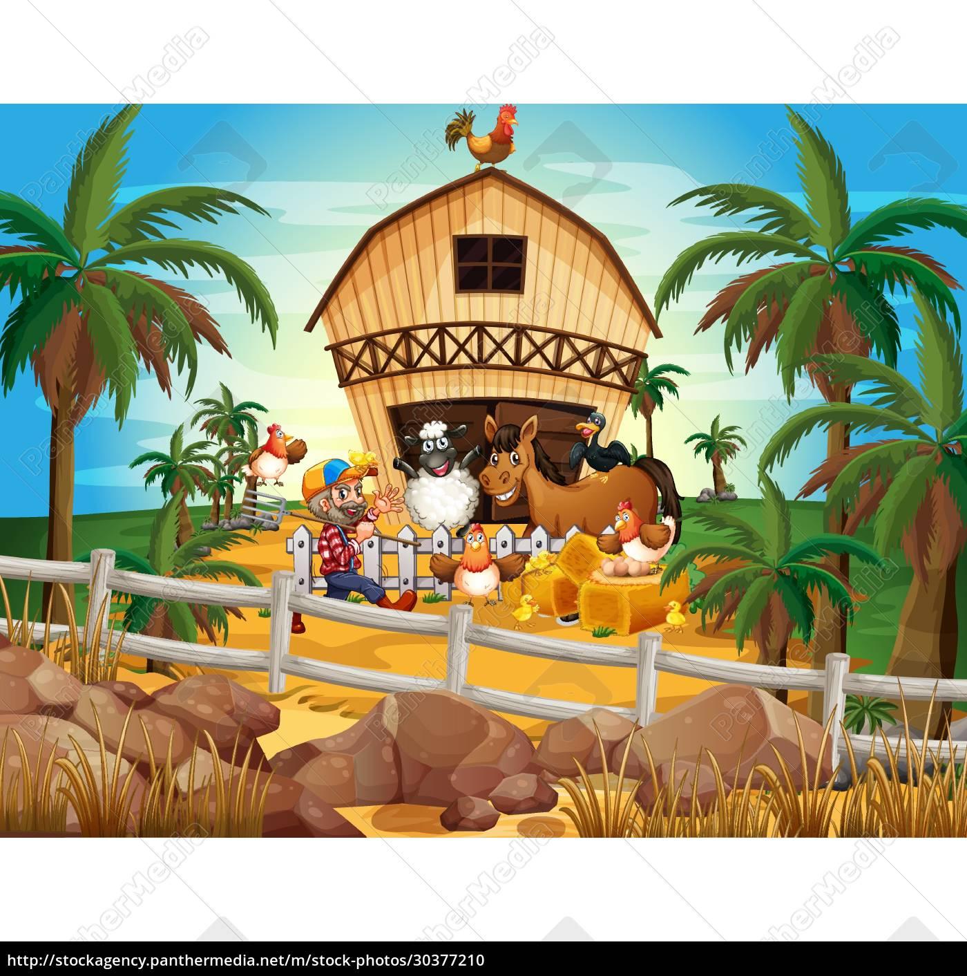 farmer, and, animals - 30377210