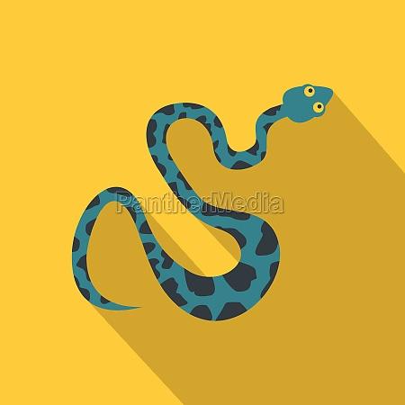 blaue schlange mit flecken symbol flacher