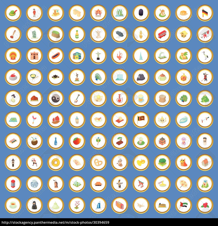 100, culture, icons, set, cartoon, vector - 30394659