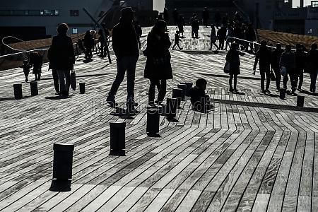 of, osanbashi, wood, deck, and, the - 30397964