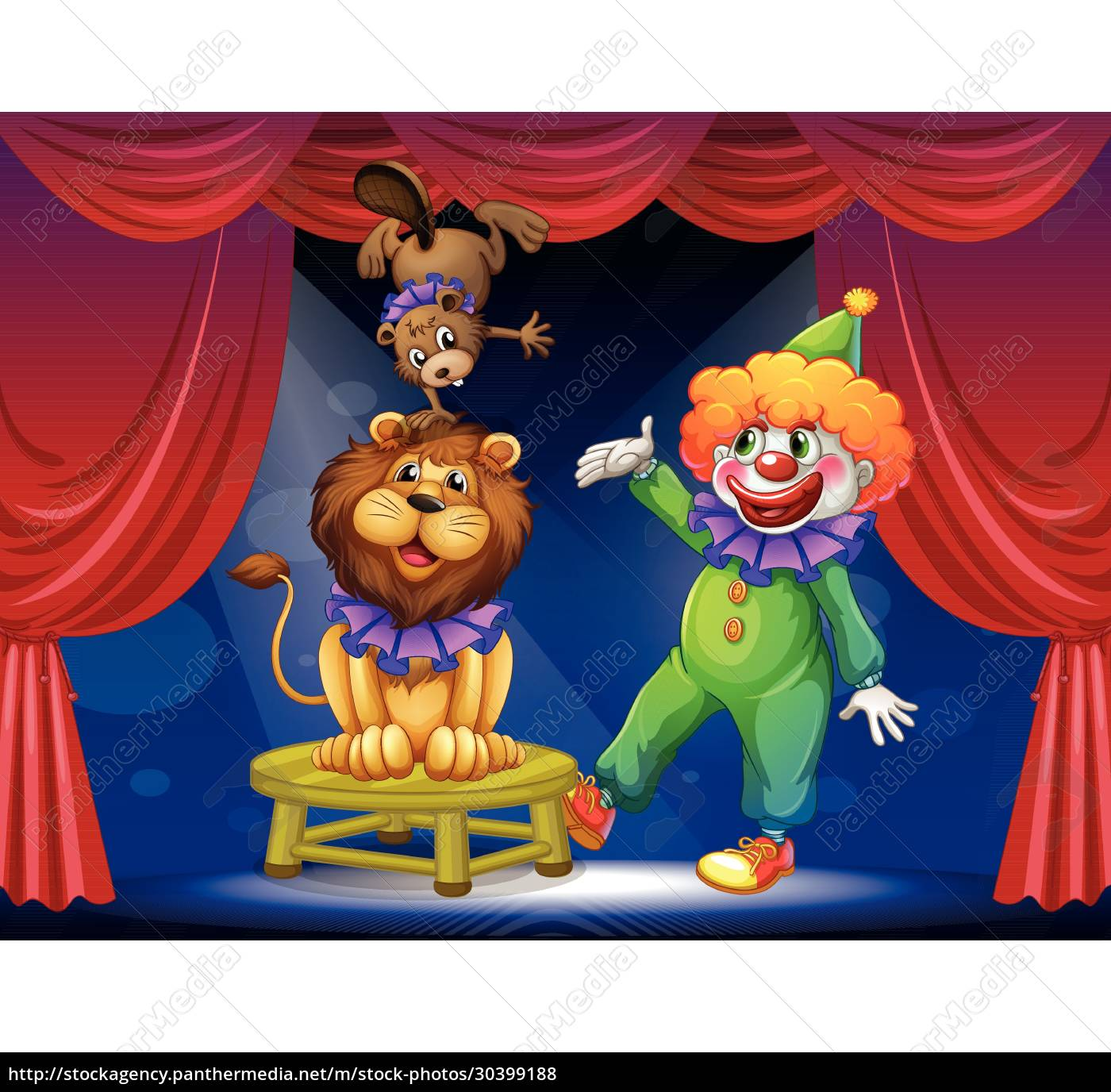 a, clown, with, animals, at, the - 30399188