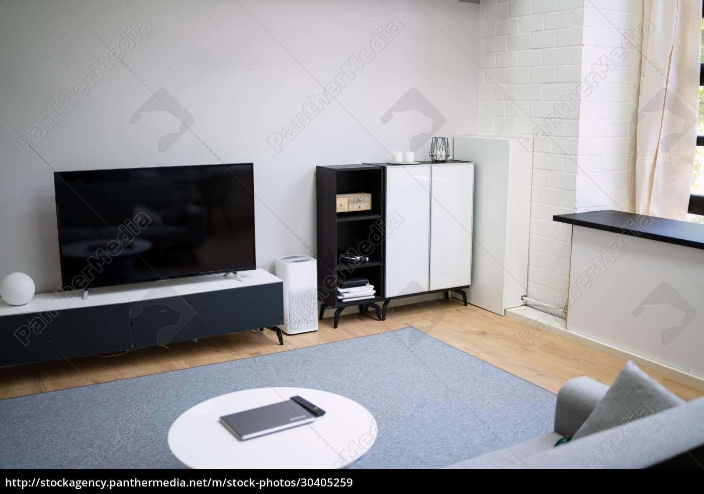 living, room, interior, with, wooden, floor - 30405259