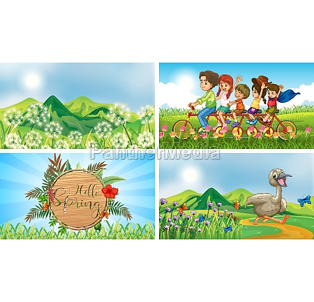 four, background, scenes, with, children, and - 30455233