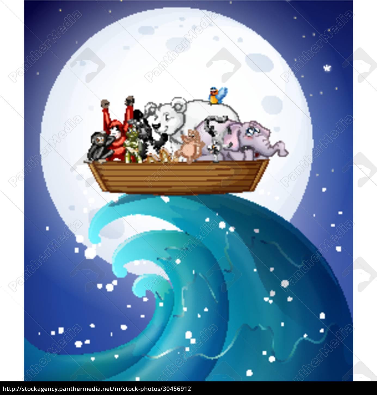 many, wild, animals, on, boat, at - 30456912