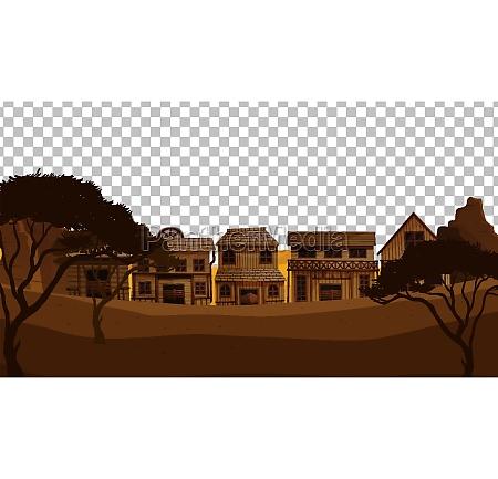 old, town, village, on, transparent, background - 30483426