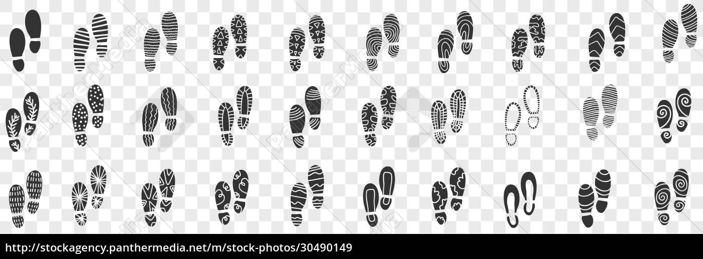 footprints, of, boots, doodle, set - 30490149