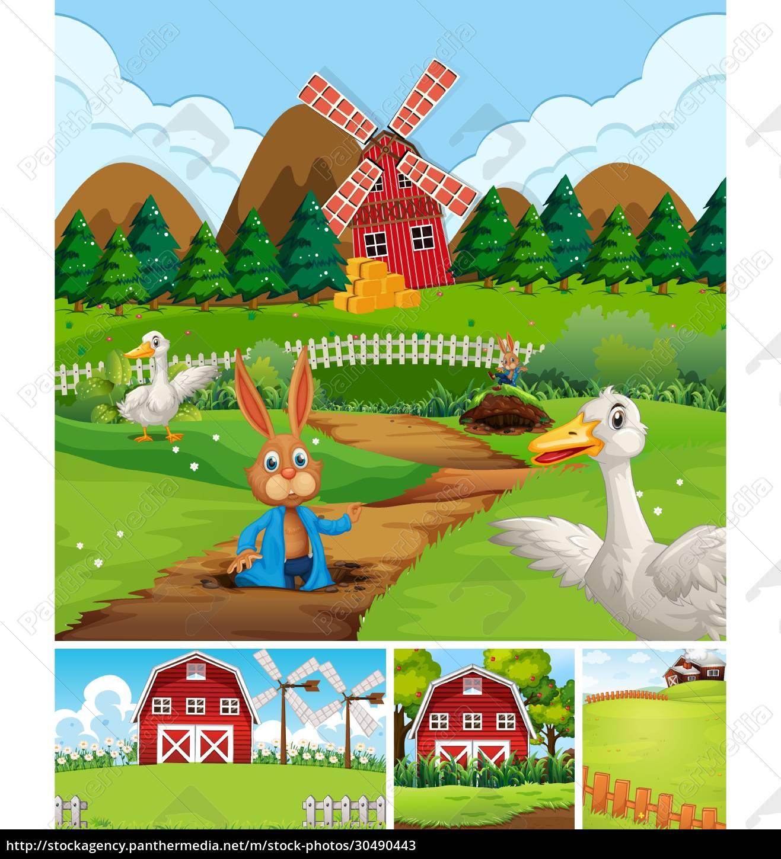 set, aus, verschiedenen, farmszenen, im, tierfarm-cartoon-stil - 30490443