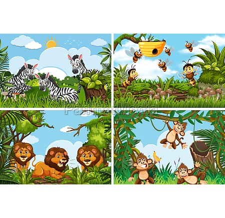 set, verschiedener, tiere, in, naturszenen - 30504136