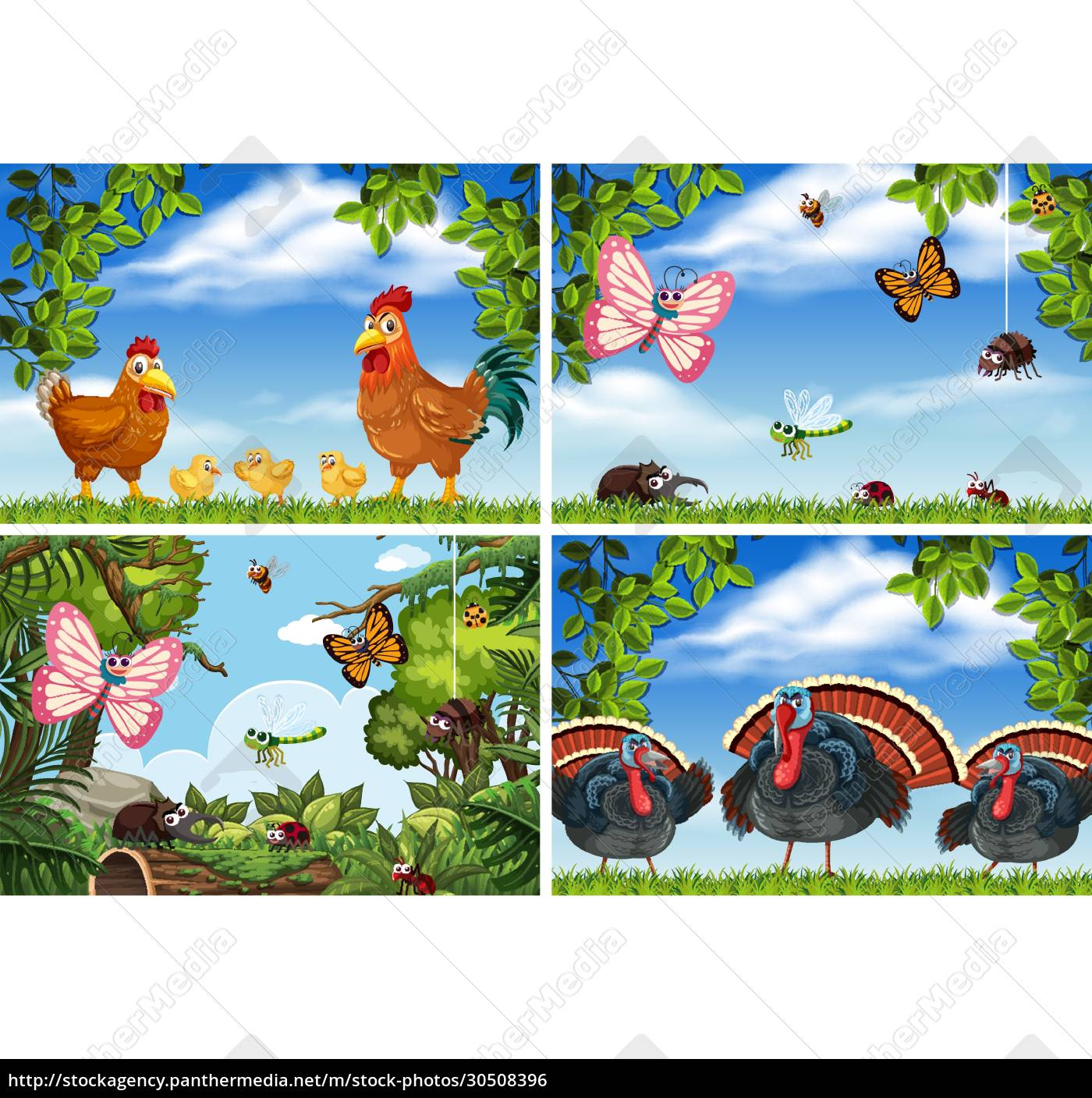 set, of, various, animals, in, nature - 30508396