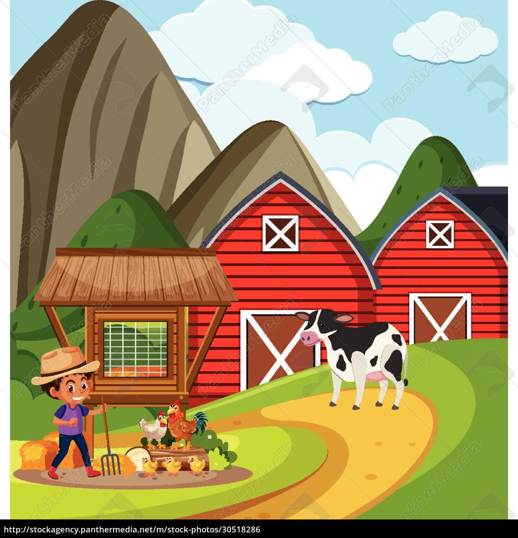 farm, scene, with, farmboy, working, on - 30518286