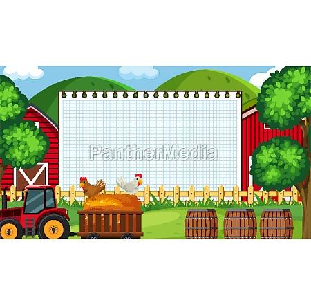 border, template, with, farm, scene, in - 30520320