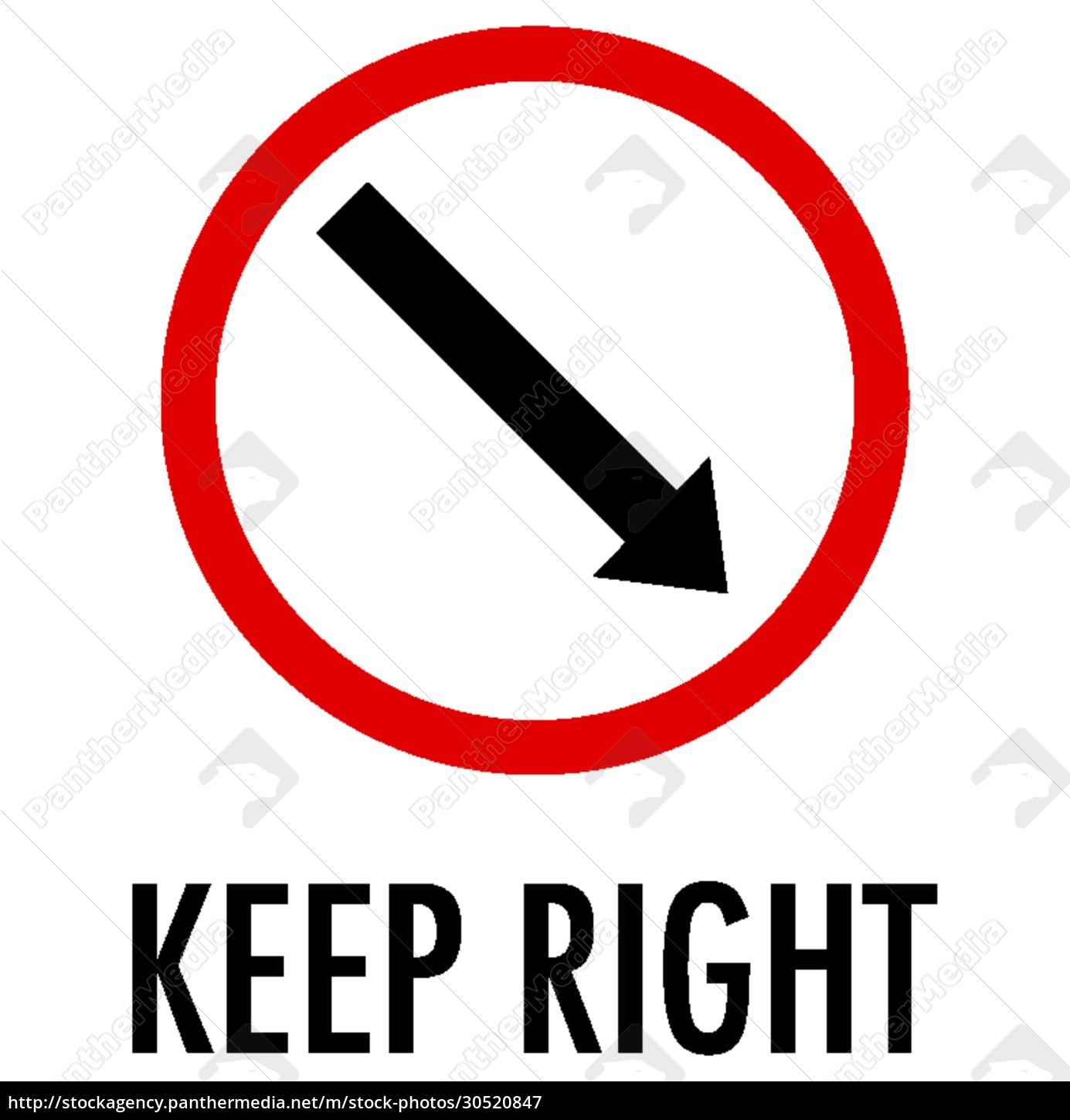keep, right, sign, on, white, background - 30520847