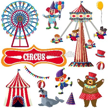 zirkus set mit vielen menschen und
