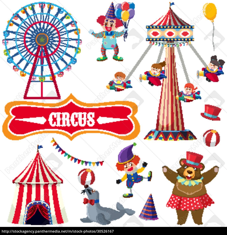 zirkus-set, mit, vielen, menschen, und, tieren - 30526167