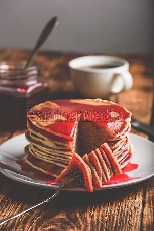 stack, of, american, pancakes, with, red - 30560876