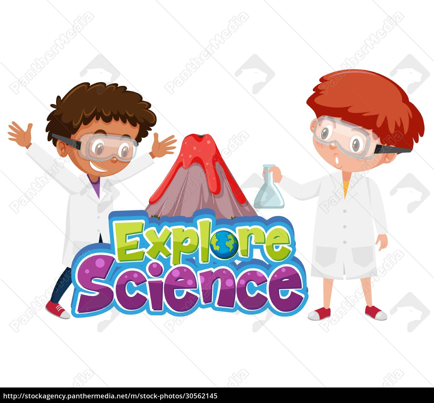 explore, science, logo, and, children, with - 30562145