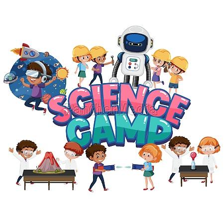 science camp logo und set von
