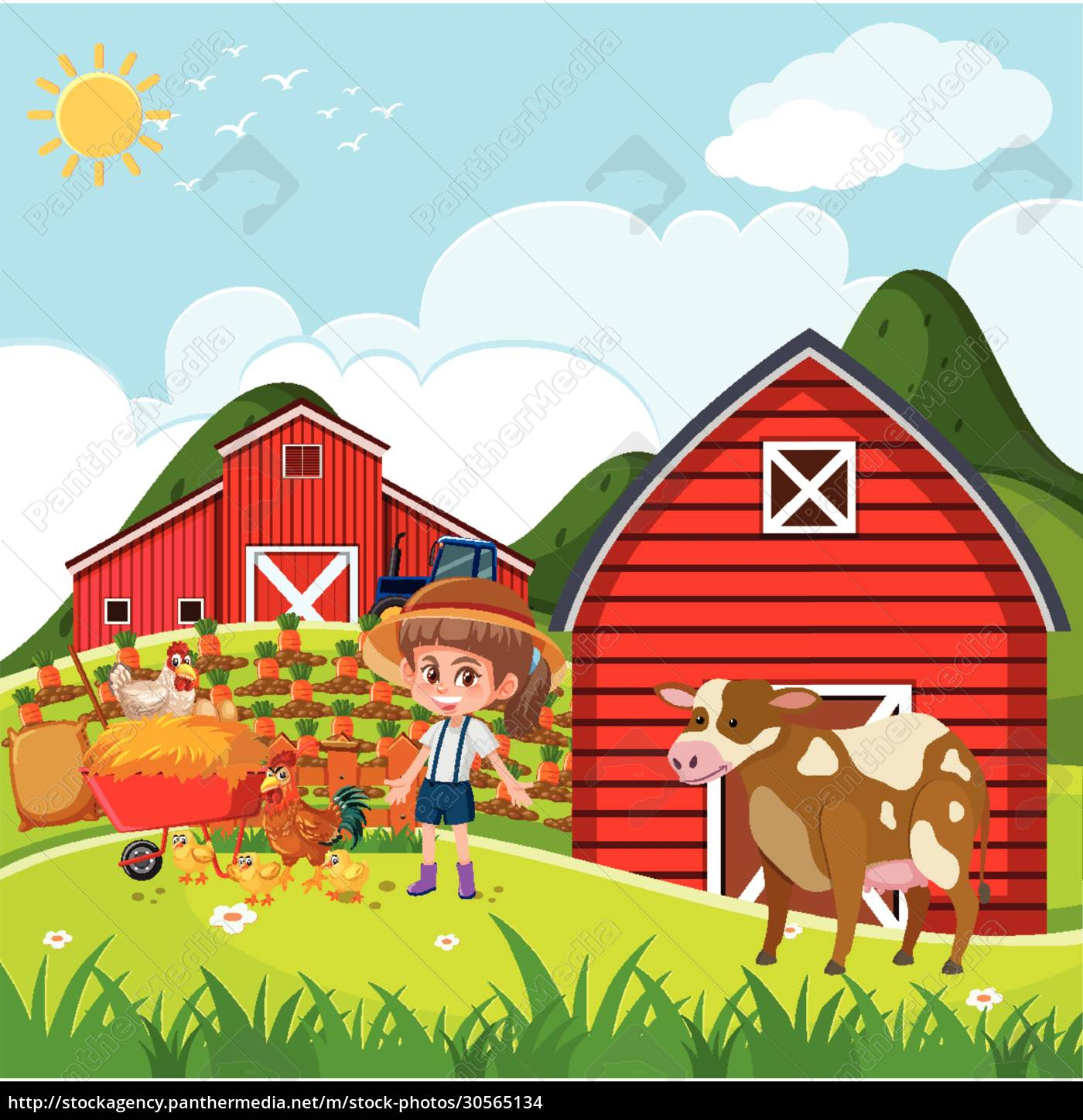 farm, scene, with, girl, and, chickens - 30565134