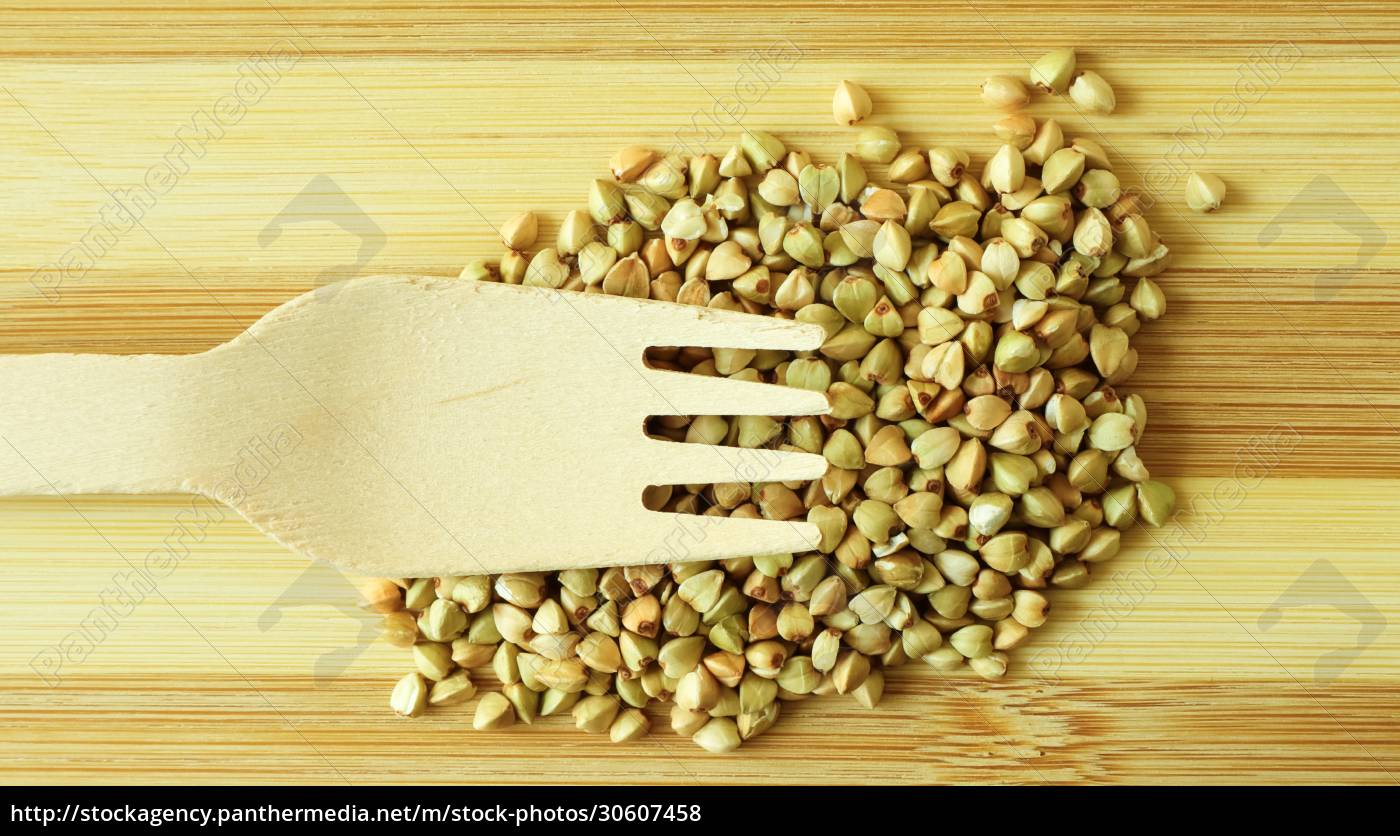 raw, green, organic, buckwheat, on, a - 30607458