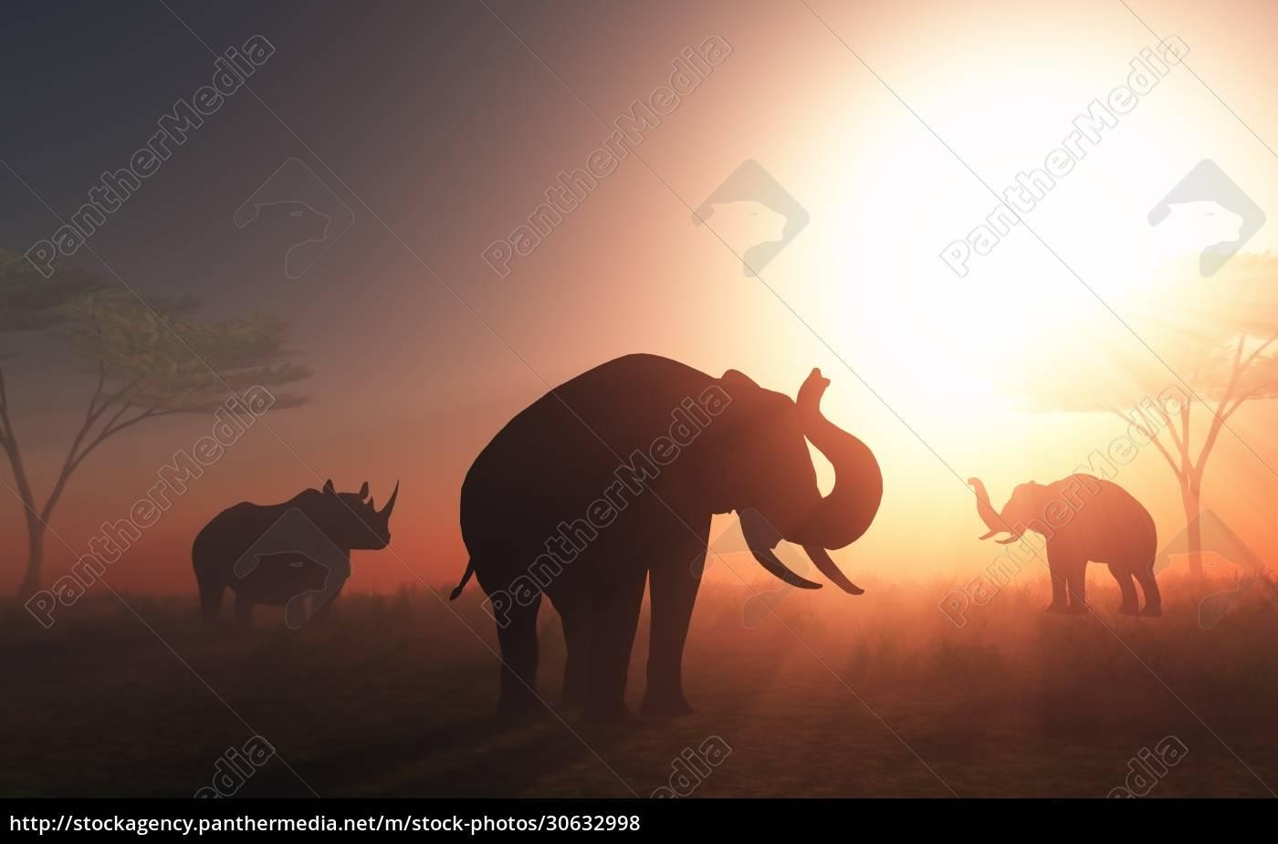 3d, wild, animals, at, sunset - 30632998