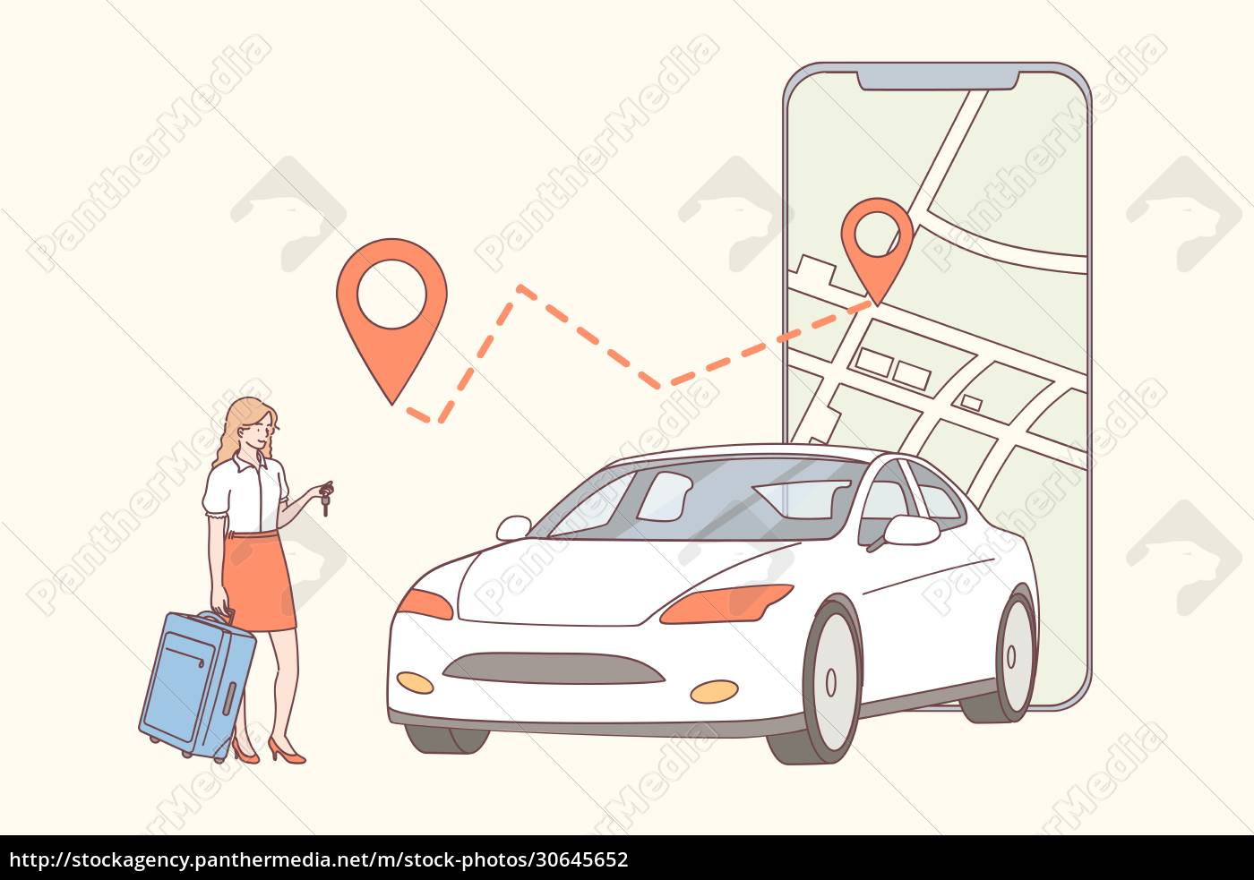 car, sharing, , application, , online, renting, concept - 30645652