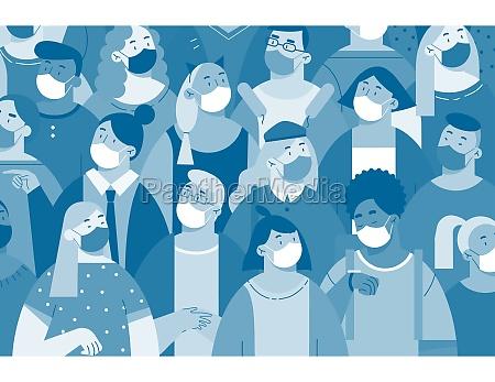 people in white face masks printkonzept