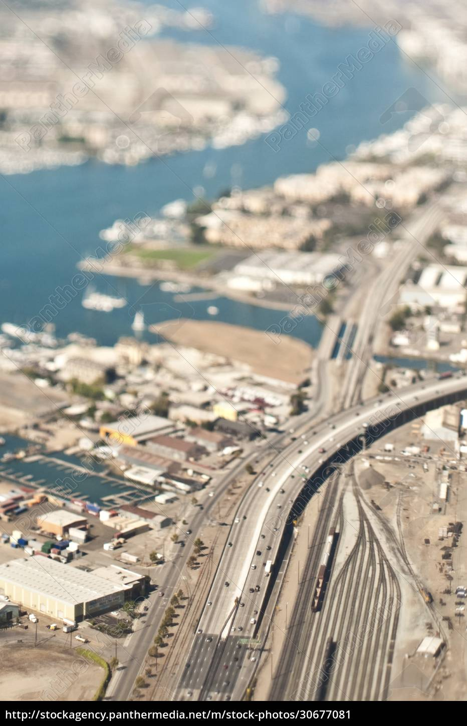 highway, and, rail, tracks, in, urban - 30677081